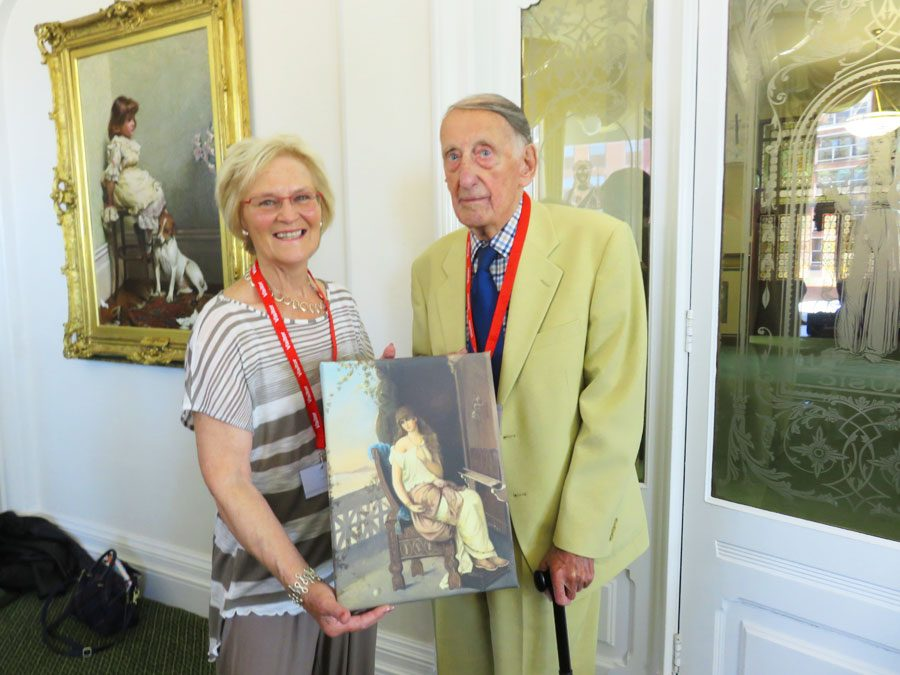 Margaret Race presenting a copy of Penelope to Mr James Hilton