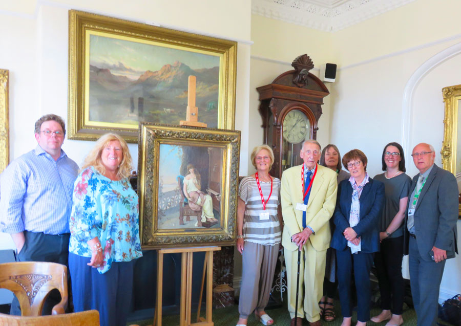 The restored Penelope painting & members of the Friends with Fylde Councillors & Philip Bourne