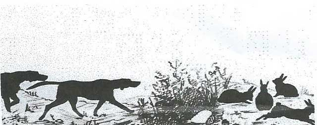 Dogs and Rabbits silhouette print, unknown artist