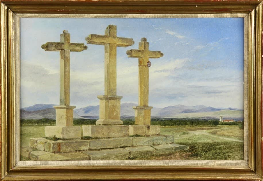 El Calvario de Churriana, the 3 crosses, a sketch by Richard Ansdell