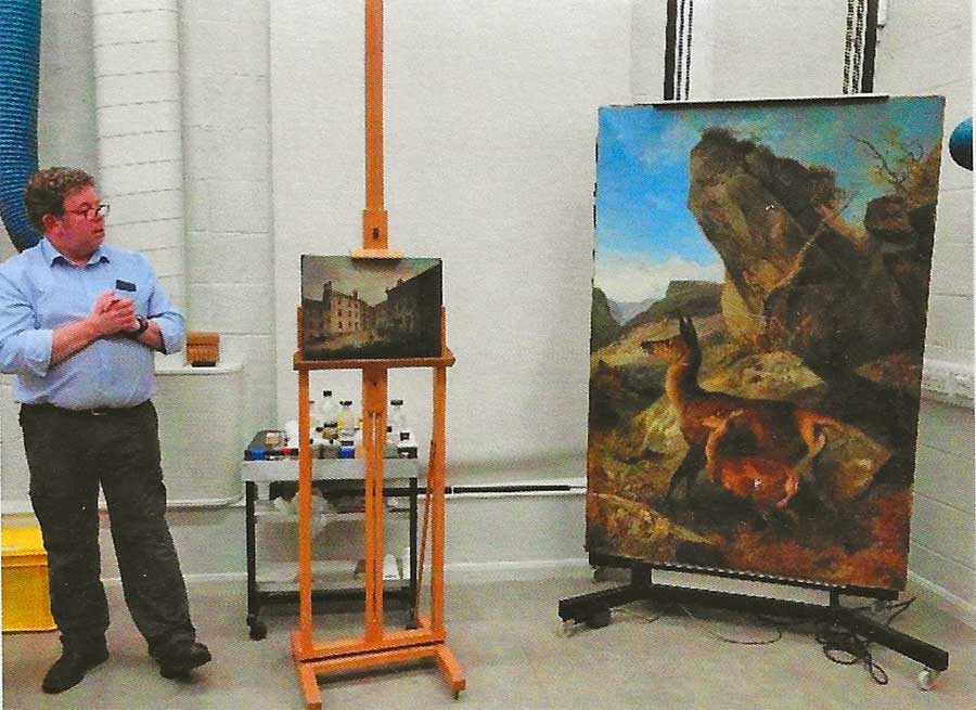 Startled Deer oil painting with Philip Bourne looking on