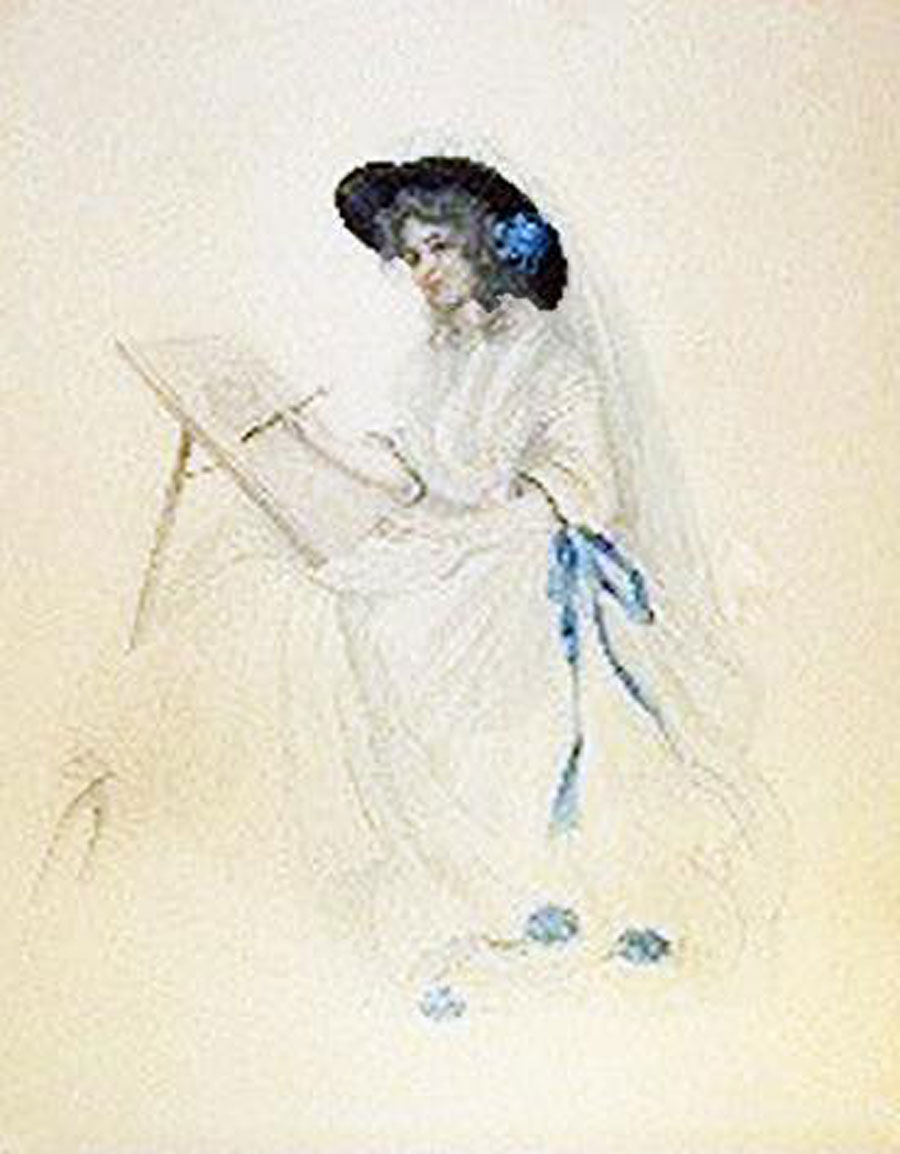 Lady Sketching watercolour by Patience Arnold (1901-1992)