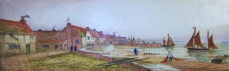 Seaside Village & Boats watercolour painting by J.D. Morris c1830-1905