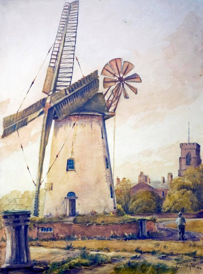 Lytham Windmill 1916 painted by Harold Partington (1852-1928)