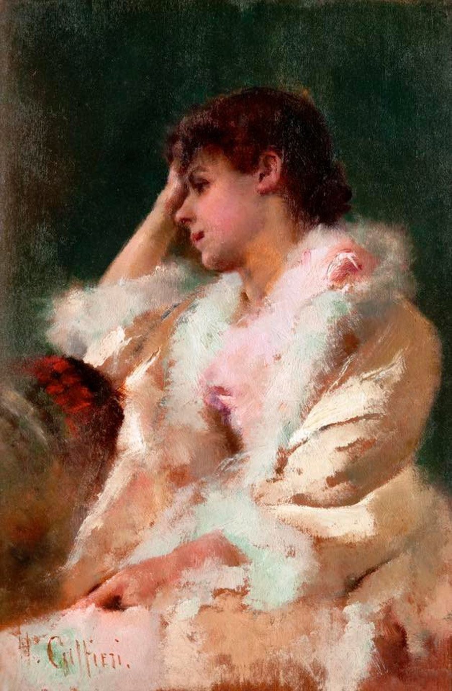 Portrait of a Lady oil on panel painted by Hector Caffieri (1847-1932)