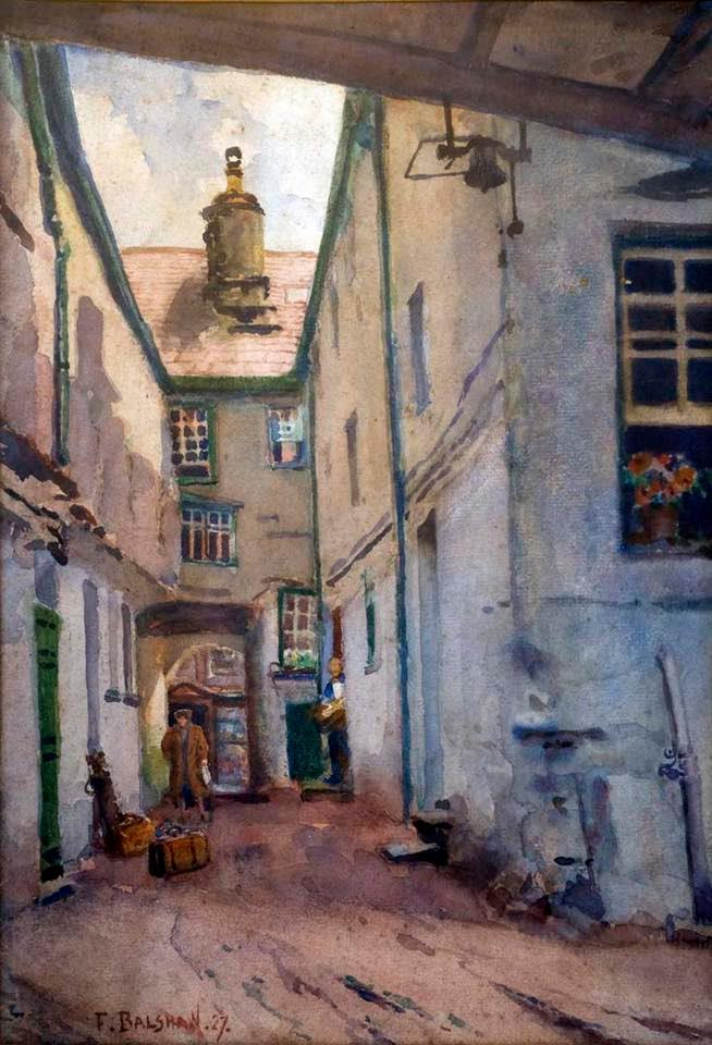 Courtyard Scene, Kings Arms Kendal, was painted by Bolton born Fred Balshaw (1860-1936)