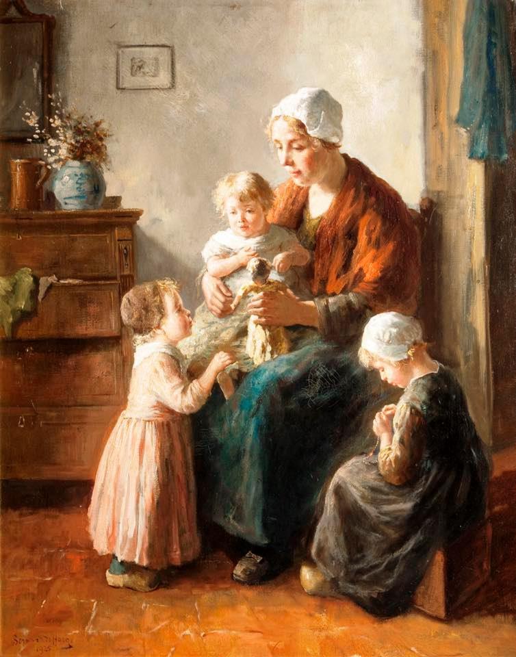 Mother & Child painting by Bernard de Hogg (1886-1943)