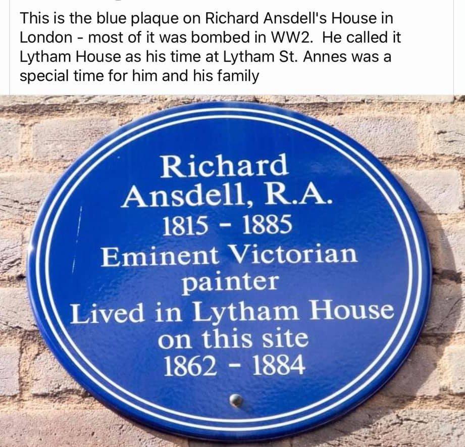 Blue Plaque Richard Ansdell R.A. 1815 - 1885 Victorian Painter - Lytham House London