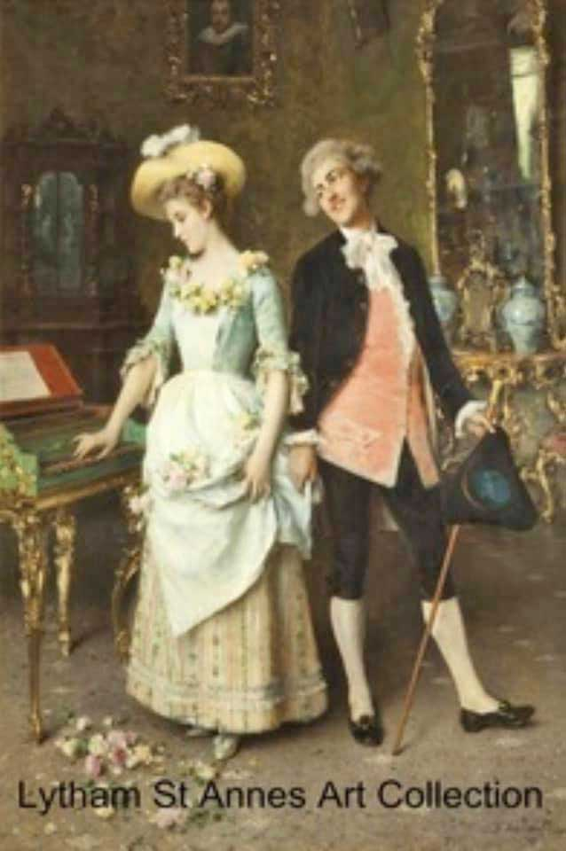 The Proposal oil on canvas painting by Federico Andreotti (1847-1930) Friends of LSA Art Collection