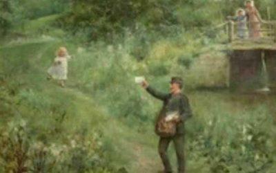 The Village Postman By Alfred Augustus Glendening Jnr (1861-1907)