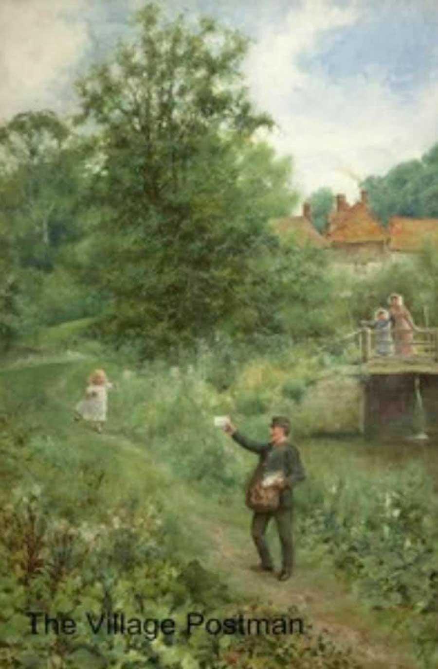 The Village Postman oil on canvas by Augustus Glendening Jnr (1861-1907)