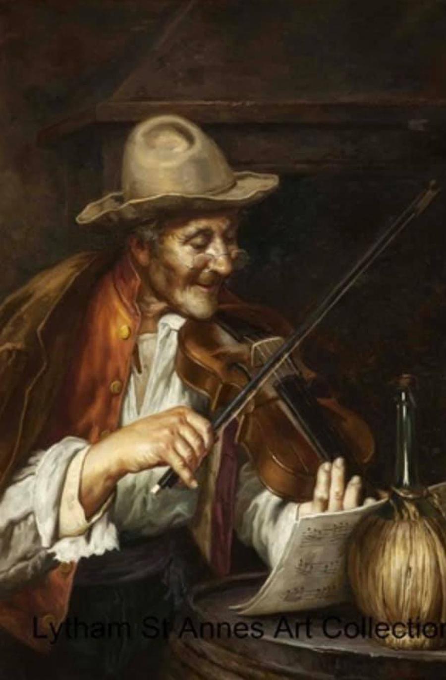 An Italian Fiddler, an oil on canvas painting by D. Farnetti 1896