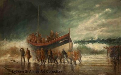 Launching the Lifeboat on the Yorkshire Coast by by W. Crossley, 1903