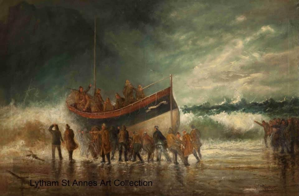 Launching the Lifeboat on the Yorkshire Coast, an oil on canvas painting by W Crossley, 1903