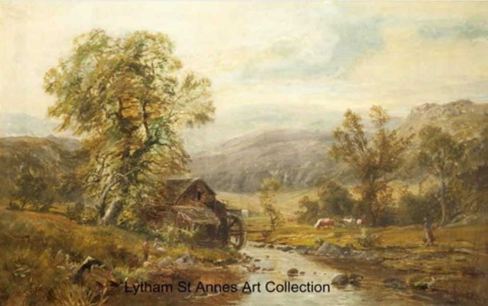 The Old Water Mill near Betws-Coed,-1857 - an oil on canvas painting by Thomas Creswick R.A. (1811-1869)